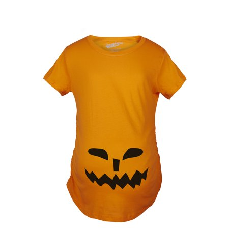 Maternity Spikey Teeth Pumpkin Face Halloween Pregnancy Announcement T shirt (Creative Halloween Pregnancy Announcements)