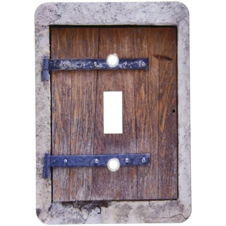 Medieval Single - 3dRose Wooden medieval style trap door photo print - offbeat humor - unusual bizarre humorous fun funny, Single Toggle Switch