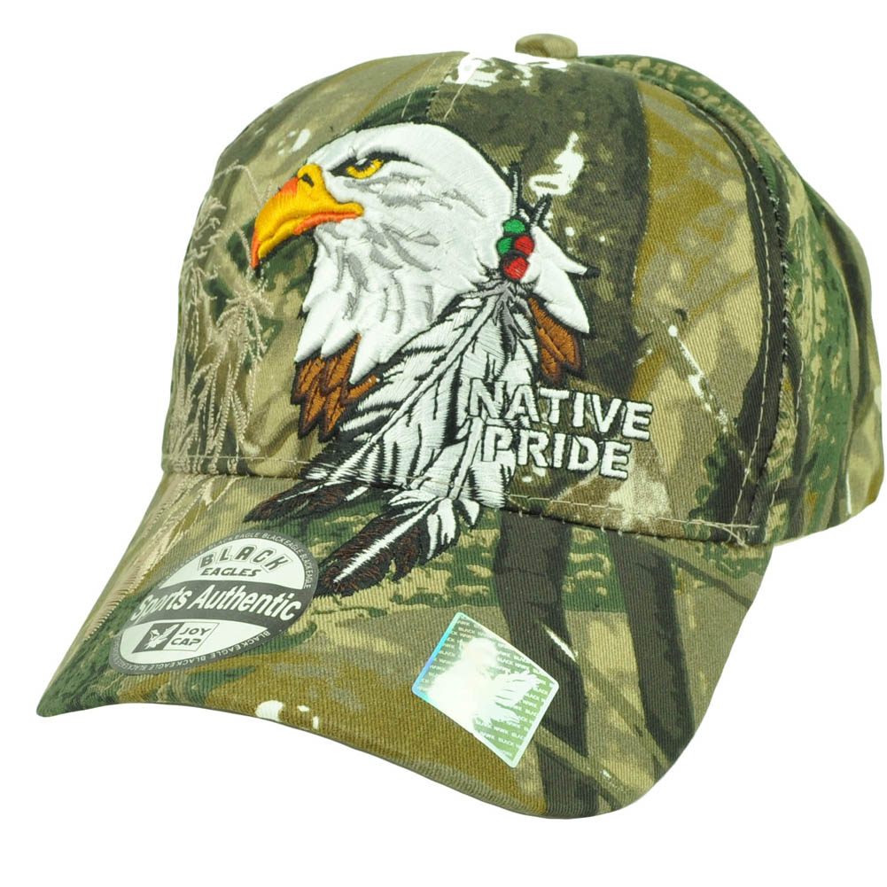 Native Indian American Pride Bald Eagle Shadow Feather Hat Cap Camouflage Camo