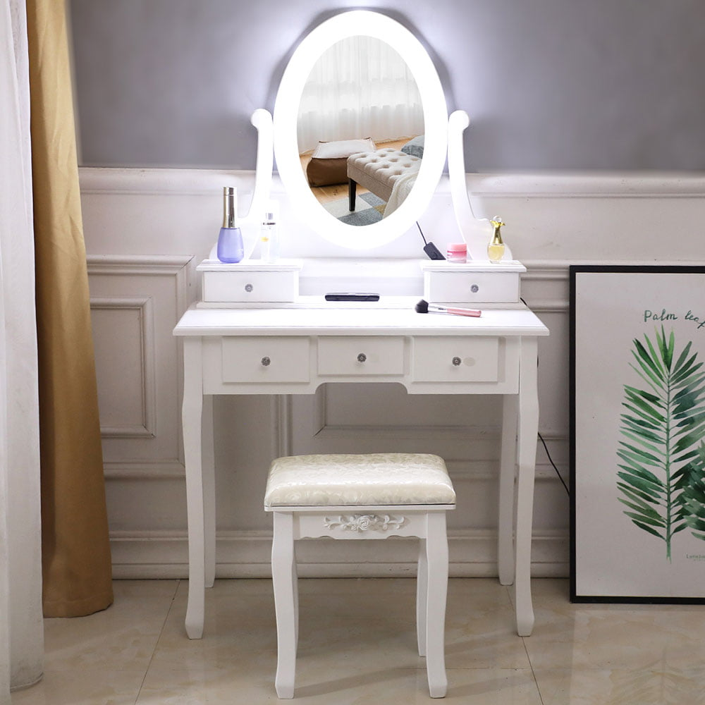 Lowestbest Dressing Table Vanity with Stool, White ...
