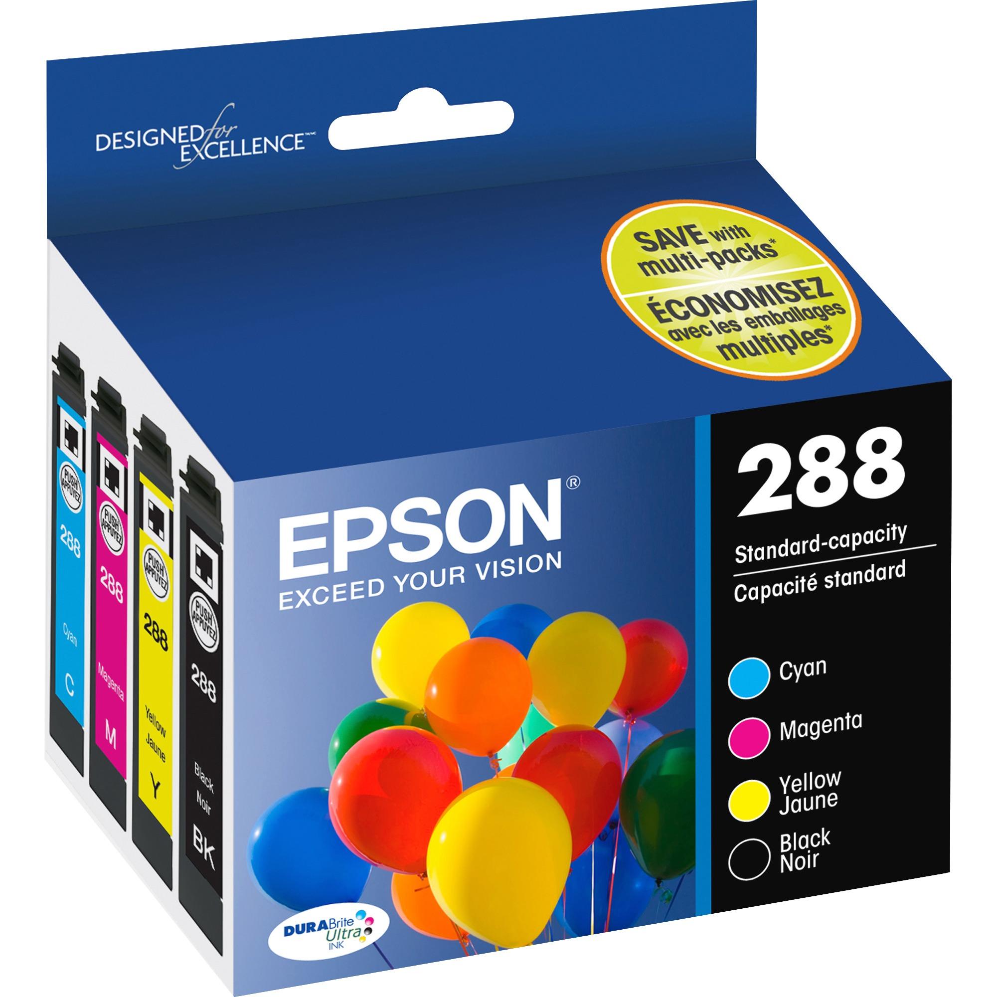 Epson 288 DURABrite Ultra Original Ink Cartridge Black, Cyan, Magenta, Yellow by Epson