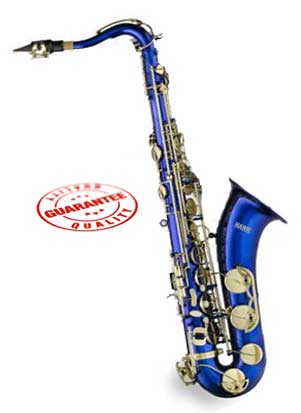 Hawk Blue Tenor Saxophone with Case, Mouthpiece and Reed by Hawk