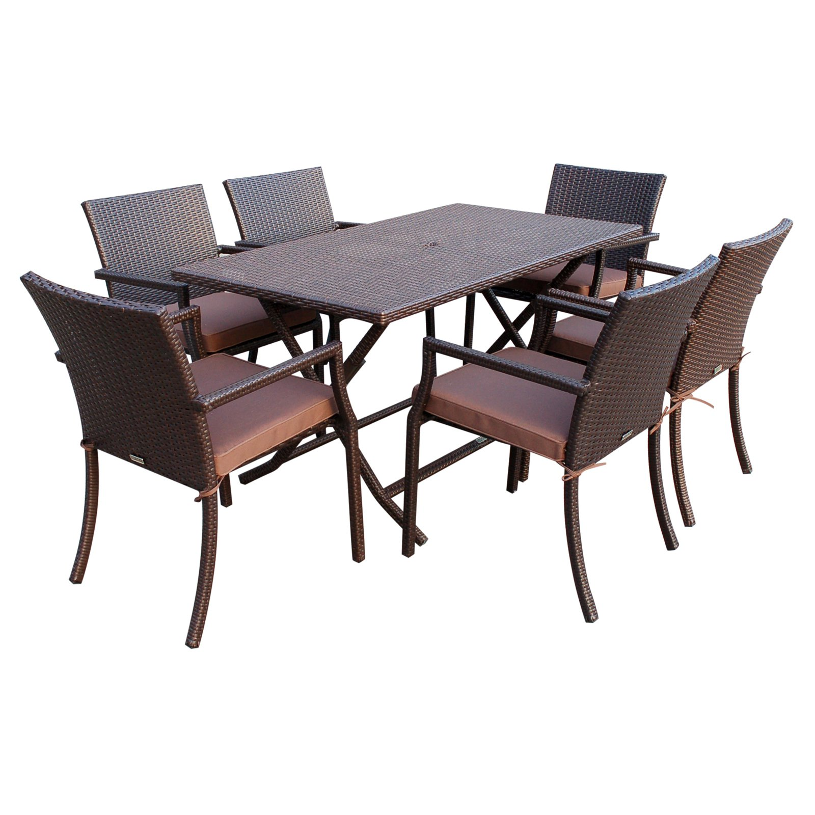 Jeco Cafe Wicker 7-Piece Rectangular Patio Dining Set