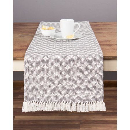 Sticky Toffee Cotton Woven Table Runner with Fringe, Scalloped Diamond, Gray, 14 in x 72 in ()