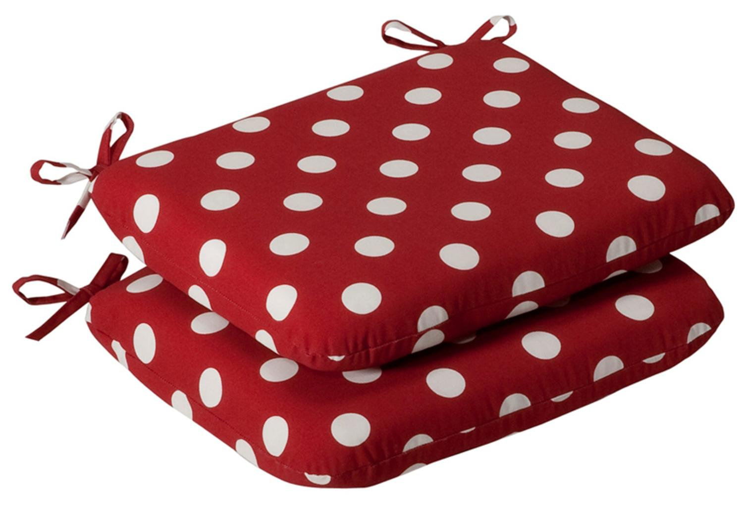 Pack Of 2 Outdoor Patio Furniture Chair Seat Cushions   Red U0026 White Polka  Dot