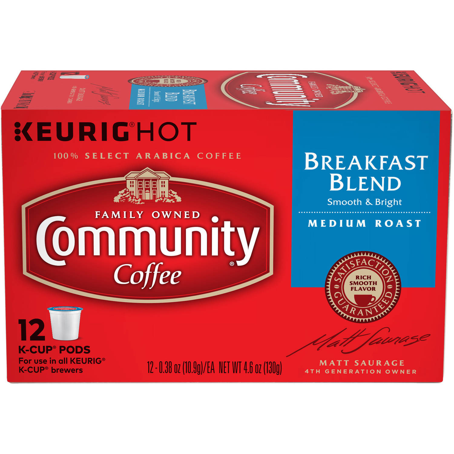 Community Coffee Breakfast Blend Medium Roast Coffee Single Serve Cups, 12 ct, 4.65 oz