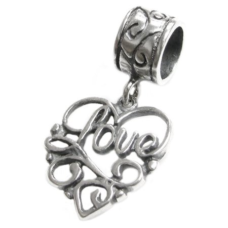 Heart Dangle Phone Charm - Queenberry Sterling Silver Love in Heart European Style Dangle Bead Charm Fits Pandora