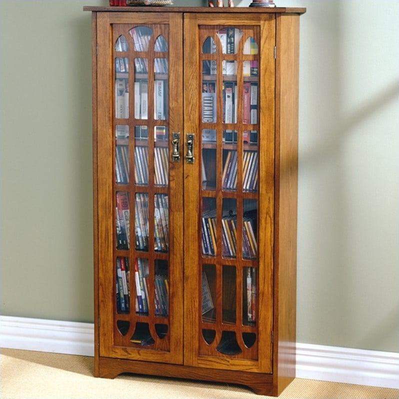 "Southern Enterprises Grayson 48"" Window Pane Media Cabinet in Oak"