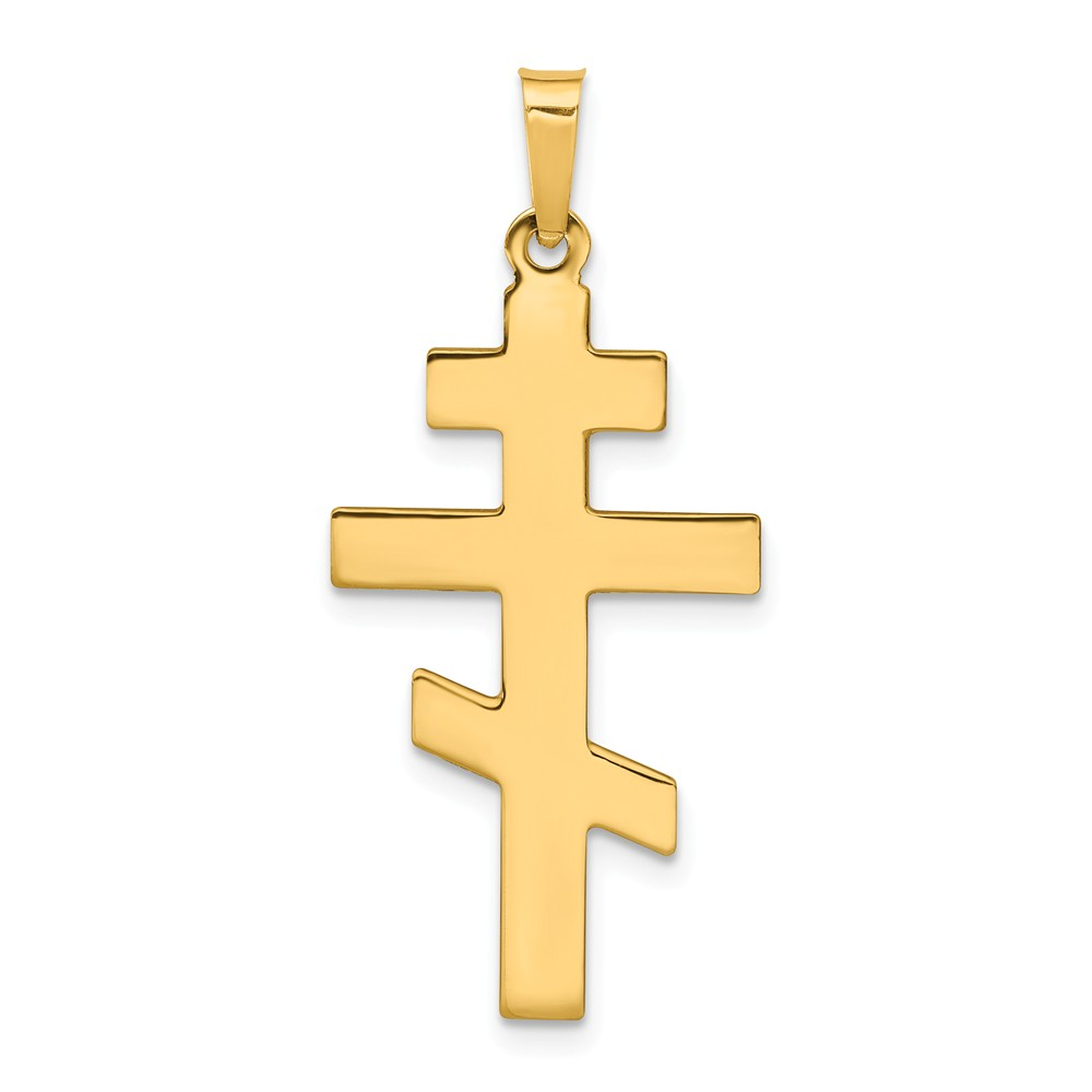 14k Yellow Gold Eastern Orthodox Cross Charm (1.3in long x 0.6in wide)