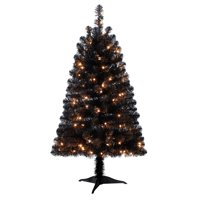Holiday Time Pre-Lit 4' Indiana Spruce Black Artificial Christmas Tree, Clear-Lights