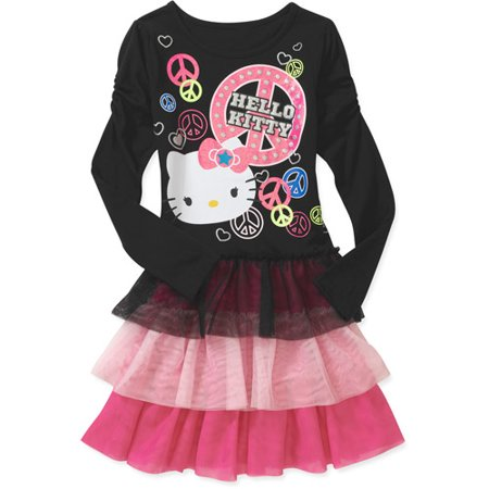 hello kitty girls long sleeve dress. Black Bedroom Furniture Sets. Home Design Ideas