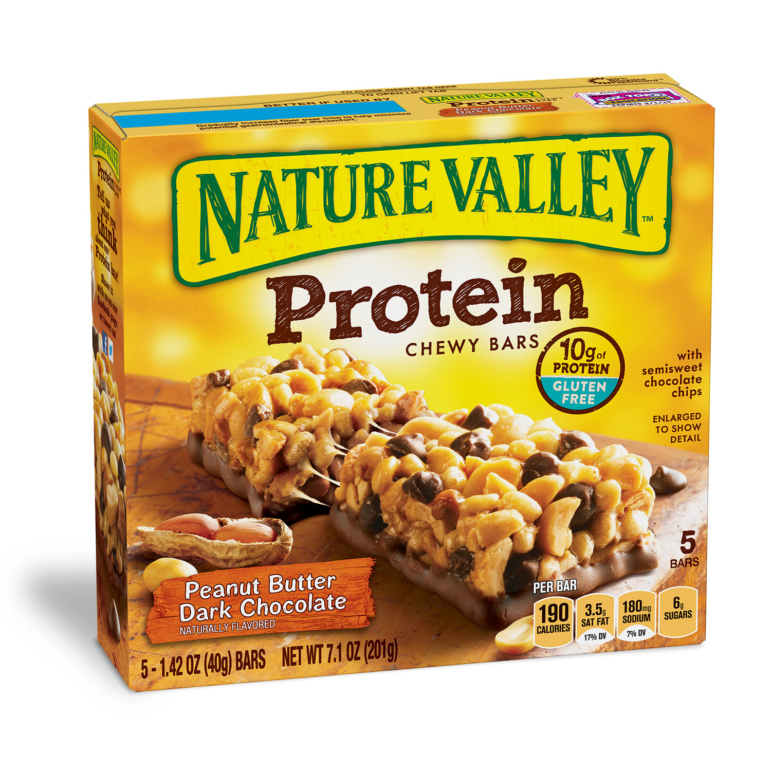 Nature Valley Protein Chewy Bar Gluten Free Peanut Butter Dark Chocolate 1.42 oz, 5 Bars Box