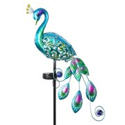 Exhart Solar Blue Metal and Glass Peacock Garden Stake, 4.5 x 16 x 45.5 inches