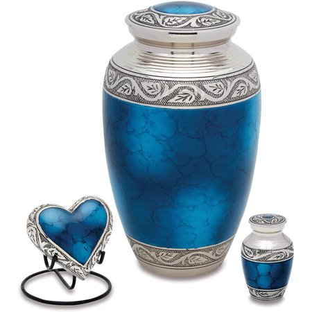 Urns Direct 2U Grecian Blue Cremation Urn Set