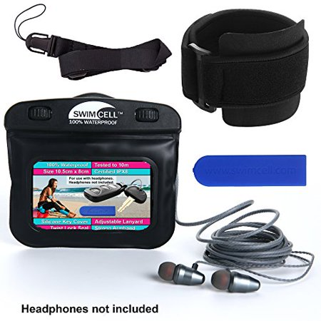 SwimCell Waterproof Case for MP3 Player with headphone jack. 3 x 4 inches. Adjustable Running Armband, Lanyard and Silicone K