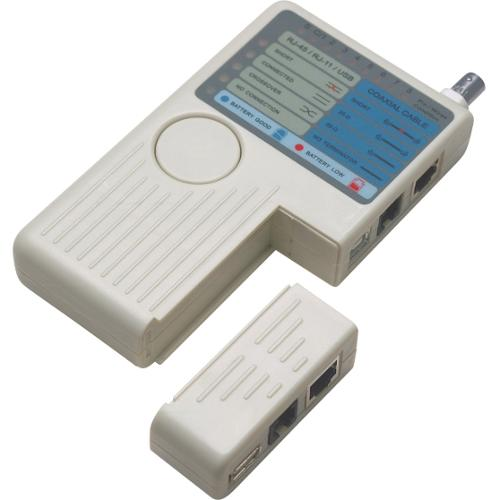 Intellinet 4-in-1 Cable Tester - Tests 4 types of cables: RJ-11/-45/USB/BNC
