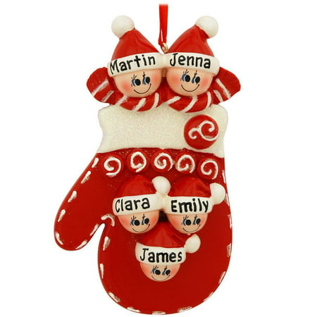 Mitten Family 5 Personalized Christmas Ornament DO-IT-YOURSELF