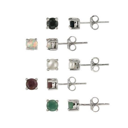 Sterling Silver 4mm Round Ruby, Sapphire, Emerald, Opal and Pearl Stud Earrings - Sparkling Ruby Pearl