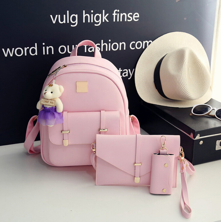 New Fashion Pink Leather Backpack for Girls & Lady, Women's Girls Leather Travel Shoulder Backpack School Rucksack Bags by
