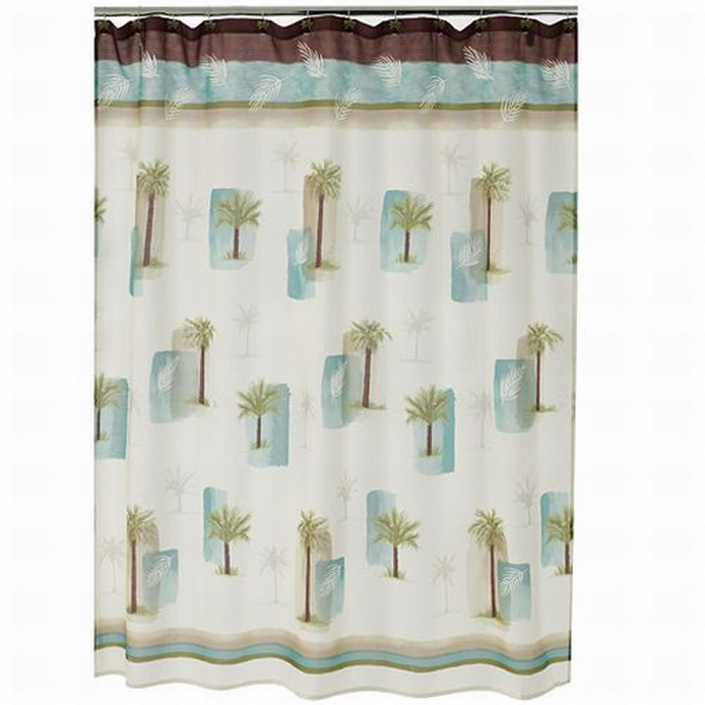 Croft Barrow Palm Isle Fabric Shower Curtain Tropical Tree Bath