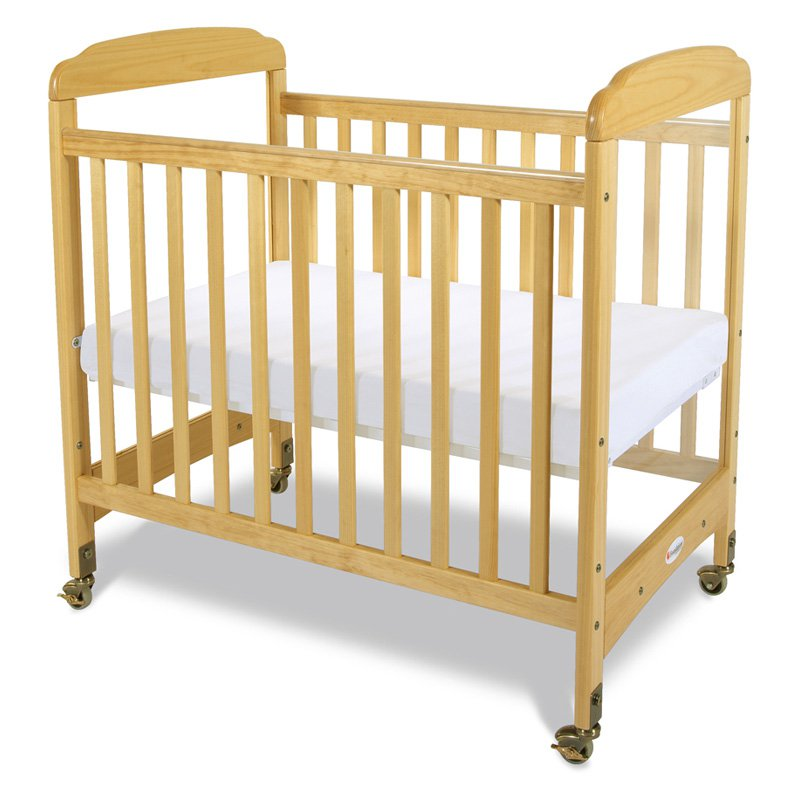 Foundations Serenity Compact Size Fixed Side Convertible Crib with Mattress, Natural