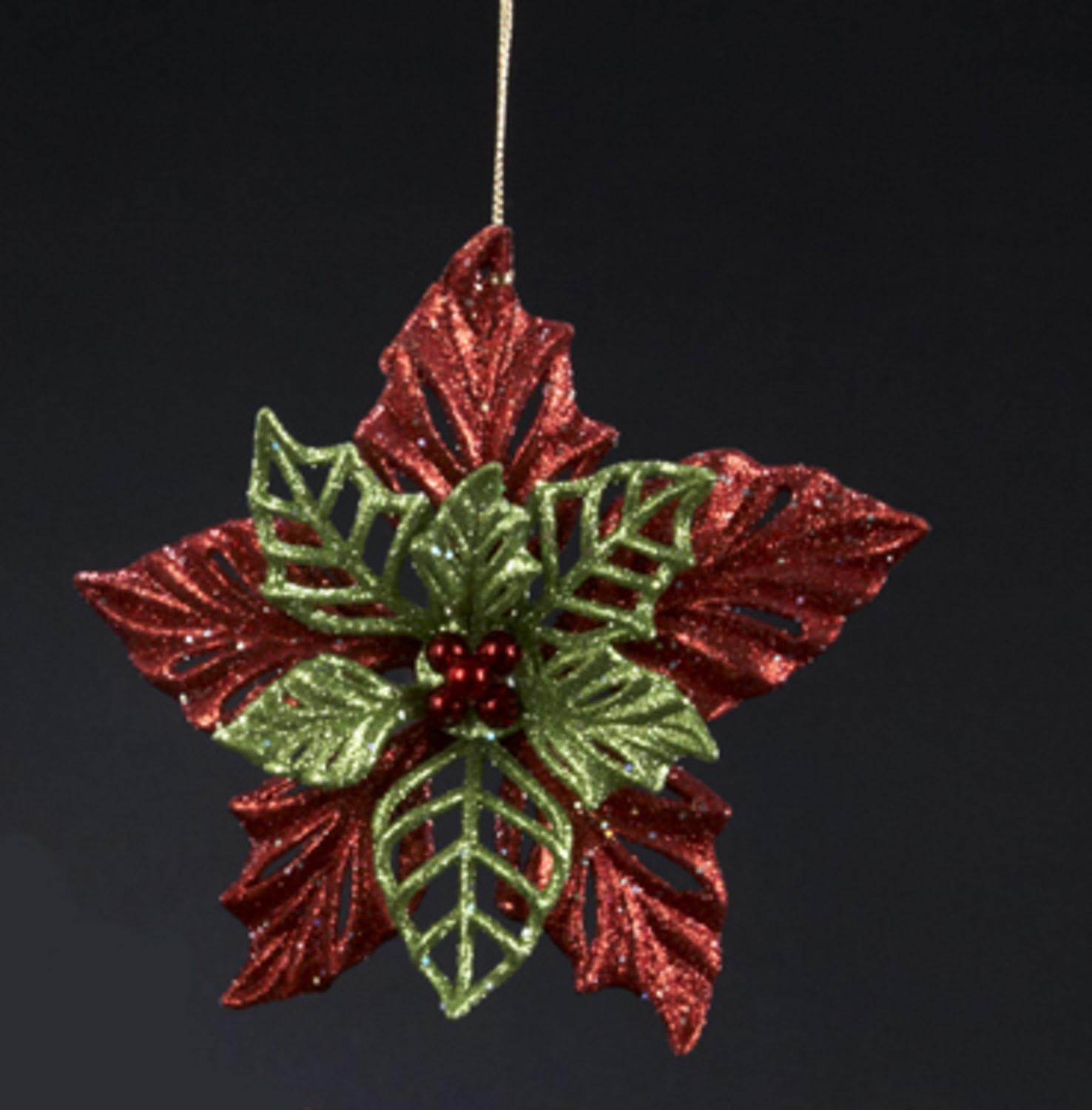 """Christmas Brights Glitter Drenched Berry Leaf Holiday Ornament 4.25"""""""