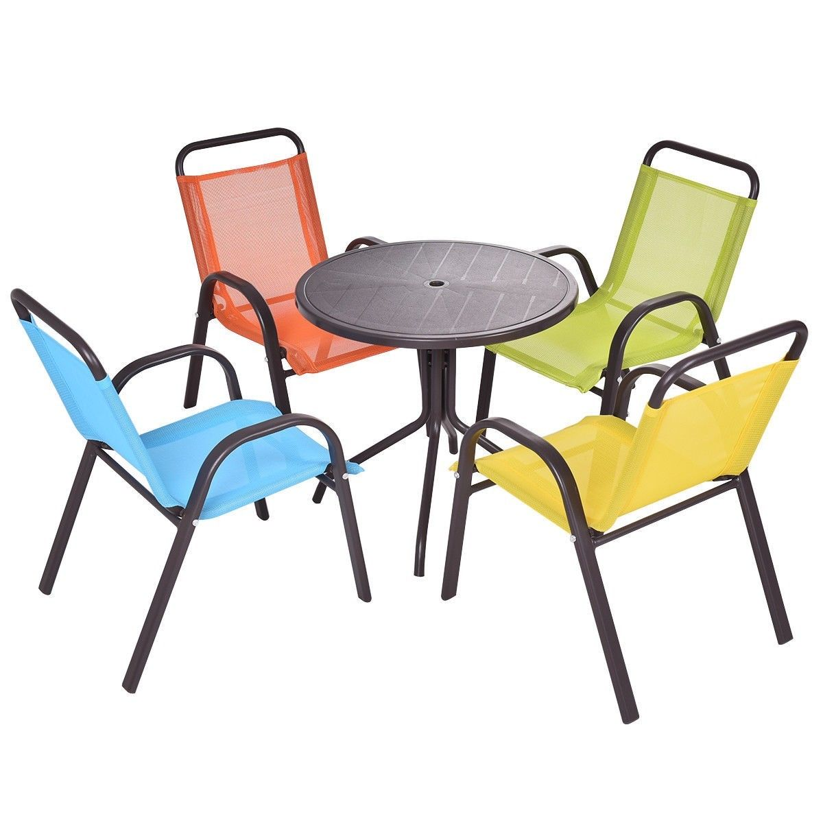 GHP Fiber PP Steel Indoor Outdoor Kids Table With 4 Pcs Colorful Stackable  Chairs   Walmart.com
