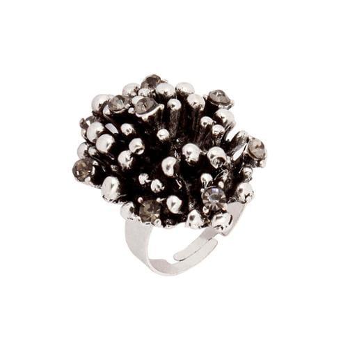 BMC Gray Rhinestone Silver Colored Alloy Metal Black Coral Cluster Fashion Ring