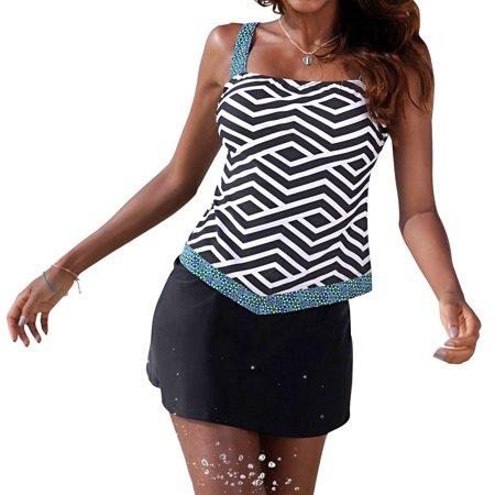 (Women adjustable straps Geometric Two Piece Tankini Skirted Swimsuit)