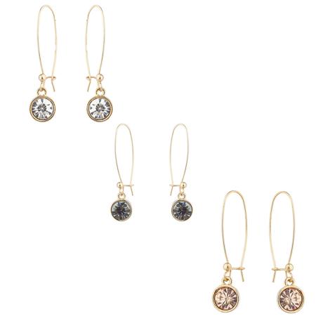 Multi Stone Dangle - Lux Accessories Gold Tone Circle Stone Wire Dangle Multi Earring Set (3pc)