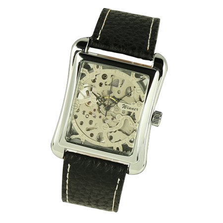 007 Stainless Steel Case - Hand-winding Mechanical Mens Watch Leather Strap Silver Stainless Steel Case