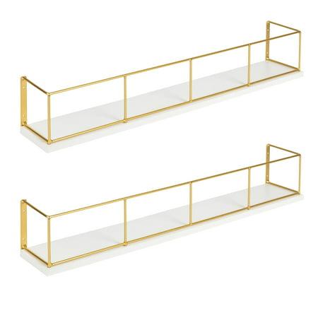 24u0022 x 4u0022 2pc Decorative Wall Shelf Set Brown/Black - Uniek