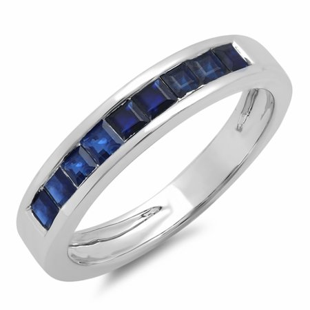 - 0.75 Carat (ctw) 14K White Gold Princess Cut Blue Sapphire Ladies Anniversary Wedding Band Stackable Ring 3/4 CT