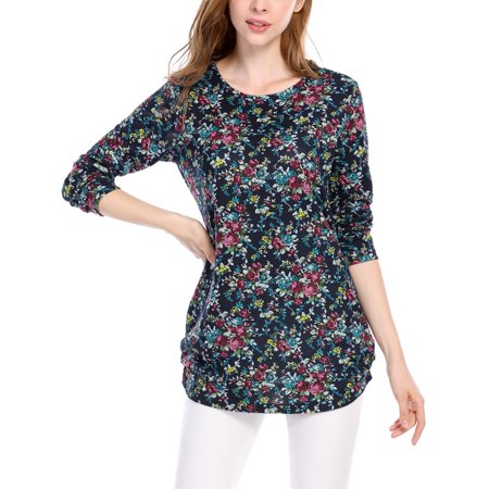 - Women Floral Prints Ruched Sides Knitted Tunic Top Blue /M (US 10)