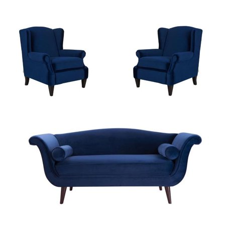 Cool 3 Piece Set With Settee And Set Of Two Accent Arm Chair In Navy Blue Caraccident5 Cool Chair Designs And Ideas Caraccident5Info