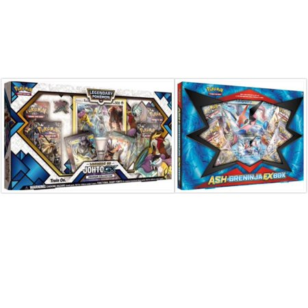 Pokemon Legends of Johto Premium GX Collection Box and Ash Greninja EX Box Trading Card Game Collection Box Bundle, 1 of Each. Great Variety Gift Set For Boys or