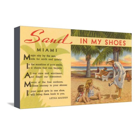 Sand in My Shoes, Poem, Florida Stretched Canvas Print Wall Art