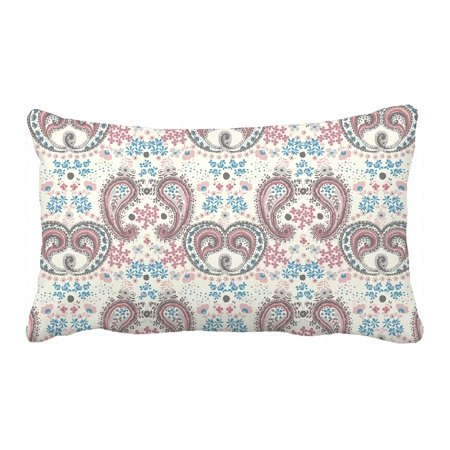 PHFZK Flower Floral Pillow Case, Paisley Pattern Pink Pillowcase Throw Pillow Cushion Cover Two Sides Size 20x30 inches