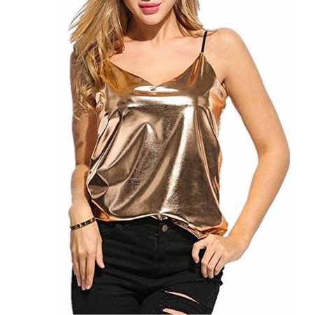Fashion Women Sexy Summer V-neck Vest Tops Sleeveless Spaghetti Strap Bling bling Gold Silver Loose Casual Tank Tops Gold (Womens Silver Suit)