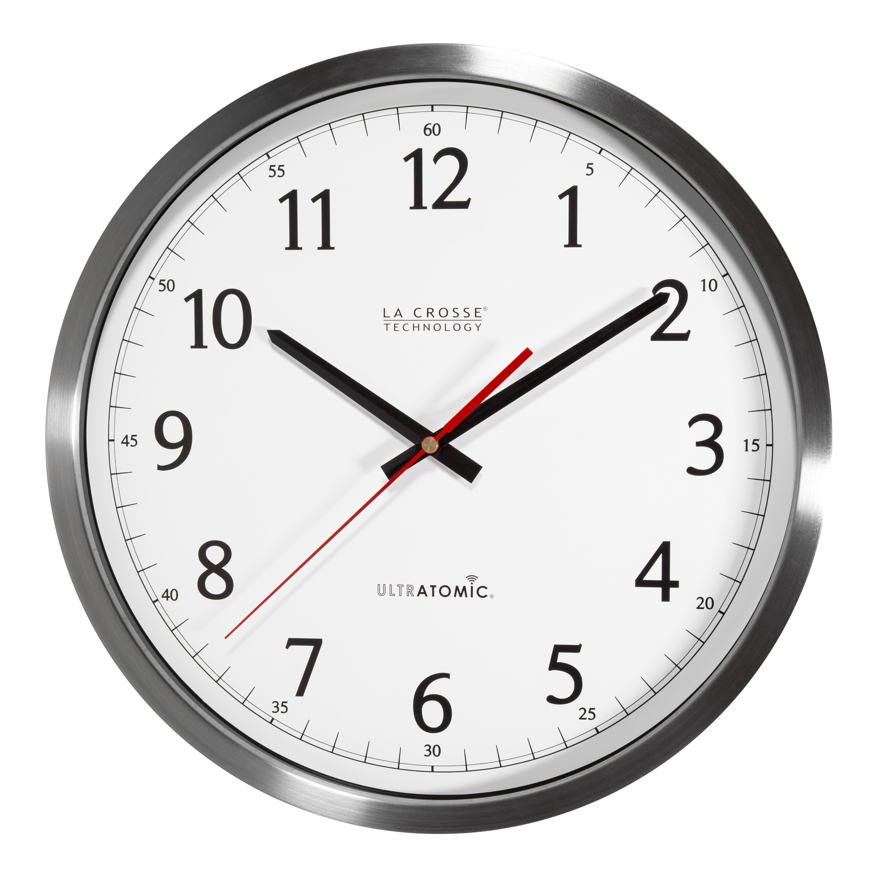 "La Crosse Technology 404-1235UA-SS 14"" UltrAtomic Analog Wall Clock, Silver"