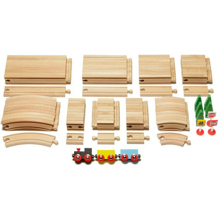 101-Piece Ultimate Expansion Wooden Train Track - Pink Train Track