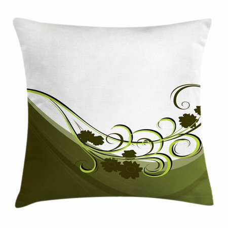Olive Green Throw Pillow Cushion Cover, Wedding Inspired Floral Arrangement Flourishing Nature Print, Decorative Square Accent Pillow Case, 16 X 16 Inches, Olive and Pale Green White, by Ambesonne