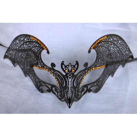 Black Gothic Bat Orange XL Venetian Mask Masquerade Metal Filigree Halloween