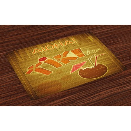Tiki Bar Placemats Set of 4 Wooden Planks on Wall with Styled Tiki Bar Text Cocktail Hibiscus Aloha, Washable Fabric Place Mats for Dining Room Kitchen Table Decor,Brown Orange Pink, by Ambesonne - Hibiscus Cocktail