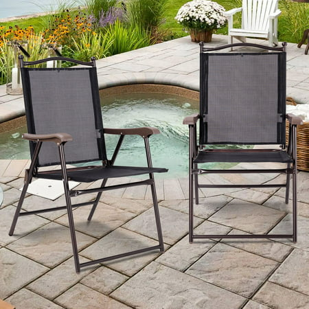 Gymax Set of 2 Folding Patio Furniture Sling Back Chairs Outdoors Black ()