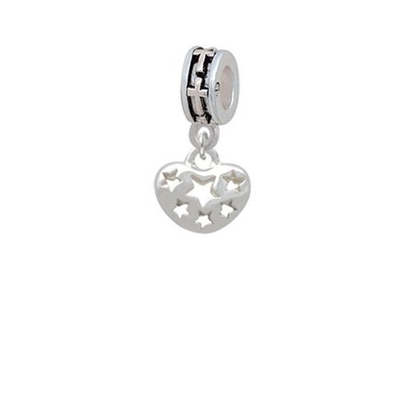 Cut Out Cross - Small Heart with Cut Out Stars - Cross Charm Bead