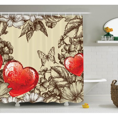 Love Decor Shower Curtain Set, Pattern Valentine'S Day With Flowers And Butterfly Holiday Love Antiquity, Bathroom Accessories, 69W X 70L Inches, By Ambesonne - Valentine Accessories