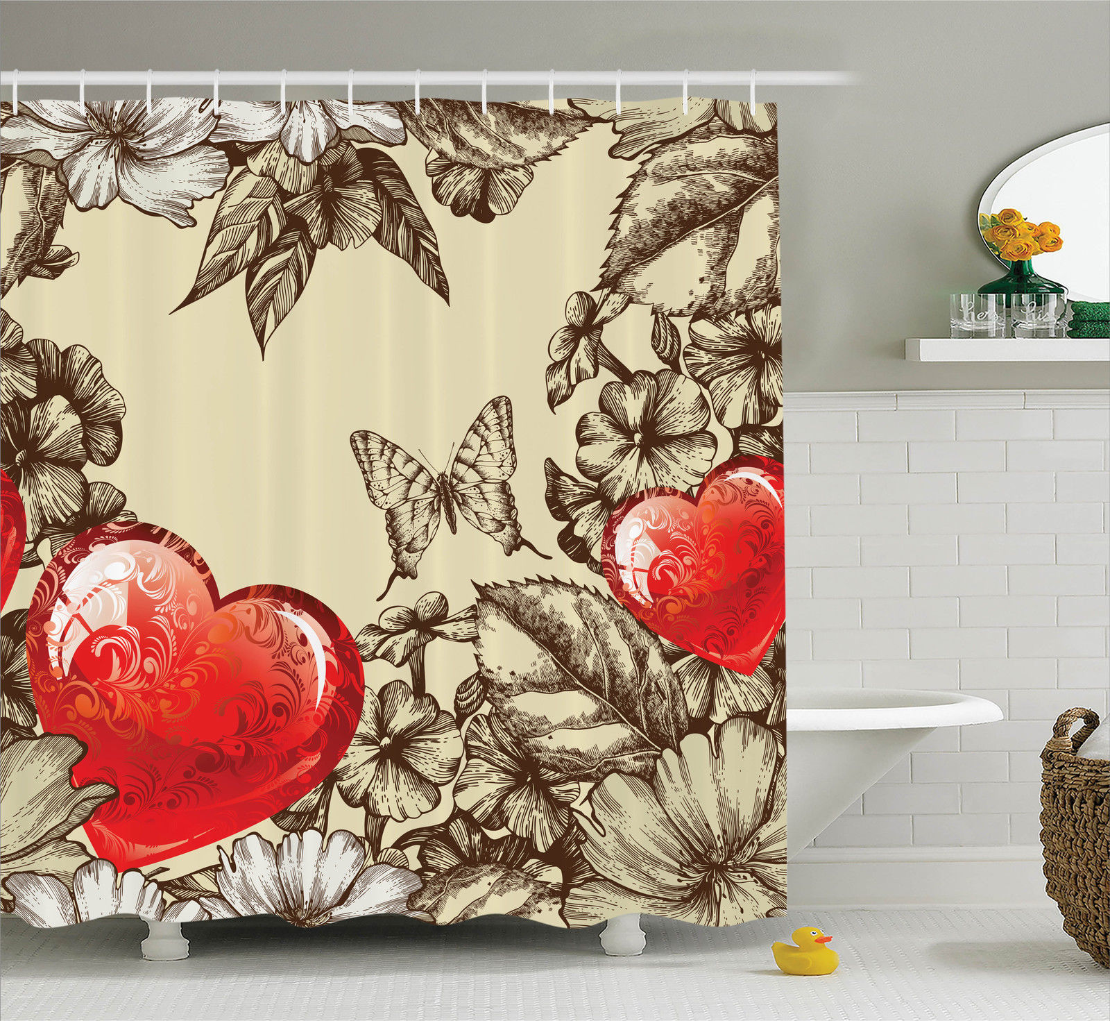 Love Decor Shower Curtain Set, Pattern Valentineu0027S Day With Flowers And  Butterfly Holiday Love Antiquity
