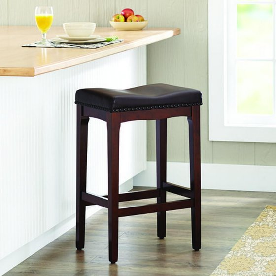 Stupendous Better Homes Gardens Wayne 29 Padded Saddle Stool Cherry Bralicious Painted Fabric Chair Ideas Braliciousco