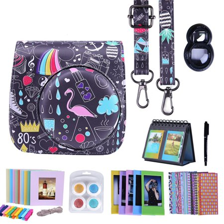 HDE Fujifilm Instax Mini 9 or 8/8+ Camera Case Accessories Box Kit Includes Leather Mini 9 Case + Strap/Fuji Album/Selfie Lens/ Hanging + Creative Frames/Border Stickers/ Pen & More (Retro 80s)